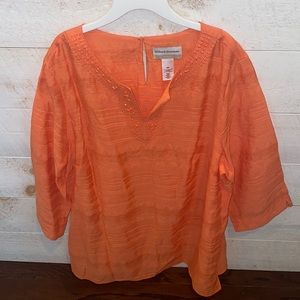 ALFRED DUNNER Coral Embroidered Split Neck Tunic